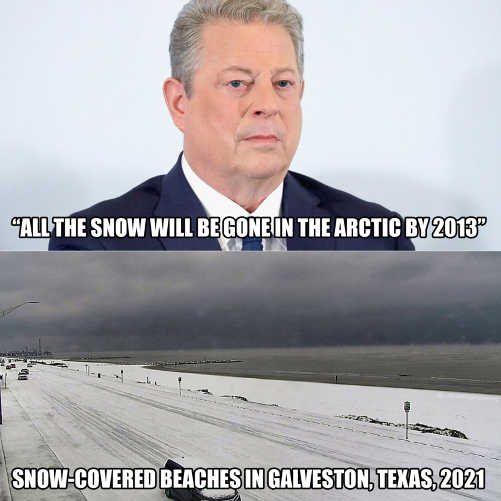 al gore all snow will be gone arctic 2013 snow beaches texas 2021