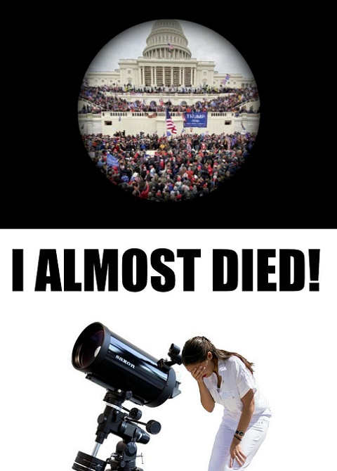 aoc i almost died looking at trump crowd through telescope