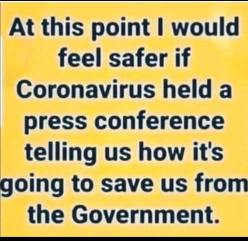 at this point feel safer if coronavirus held press conference save us from government