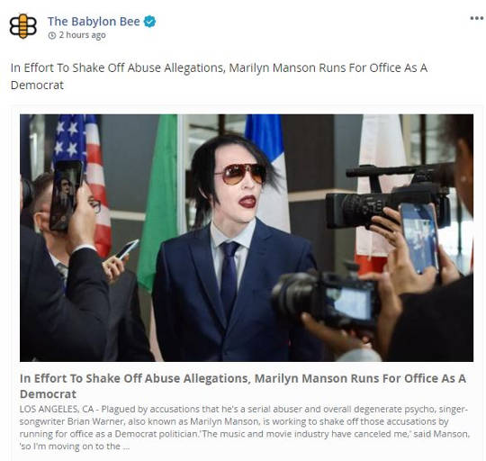 babylon bee marilyn manson runs for office to shake off abuse allegations