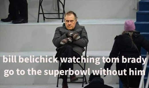 bill belichick watching tom brady superbowl without him