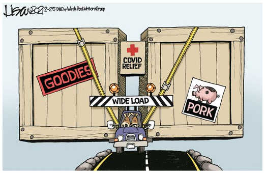 democrats wide load budget pork goodies tiny covid relief