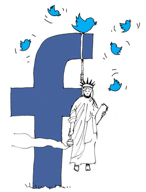 facebook twitter hanging statue of liberty