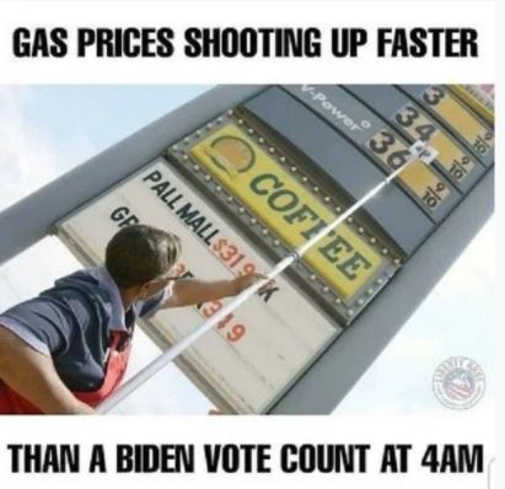 gas prices shooting up faster than biden vote count 4am