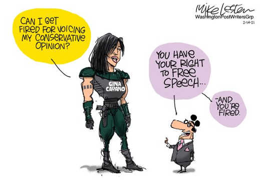 gina carano get fired for voicing conservative opinion disney no right to free speech