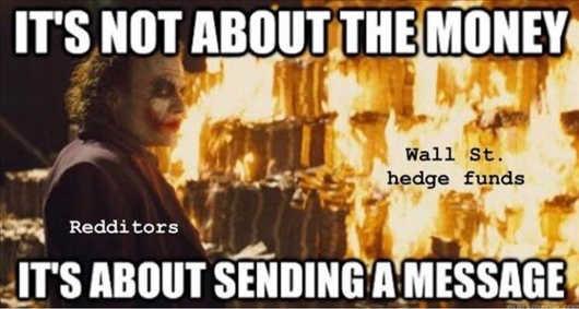 joker burning stack money about sending message wall street hedge funds redditers