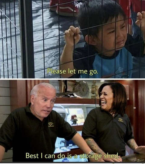 kid cages let me go joe biden kamala harris storage shed