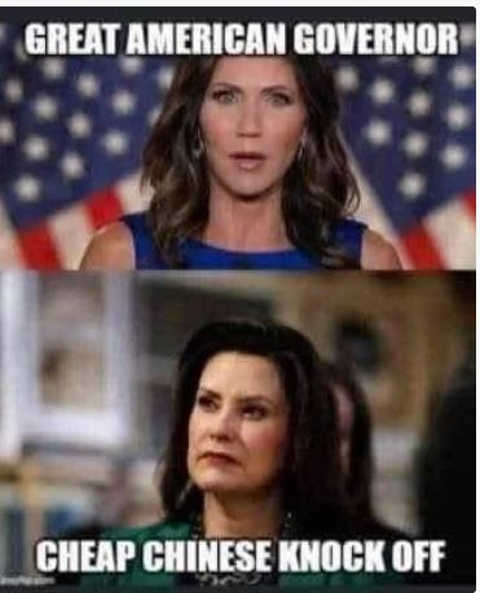 kristi noem great american governor whitmer cheap chinese knockoff