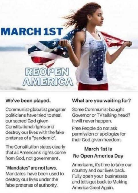 message march 1st reopen america weve been played covid lockdown over