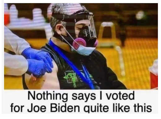 nothing says voted for joe biden like gas mask facemask vaccine