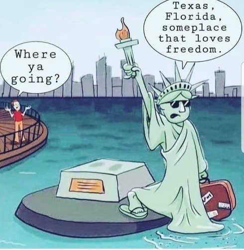 texas florida values freedom statue of liberty leaving