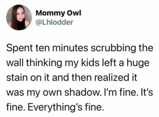 tweet mommy owl 10 minutes scrubbing shadow everything fine