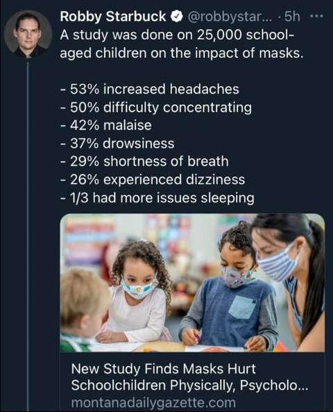 tweet robby starbuck study masks hurt schoolchildren