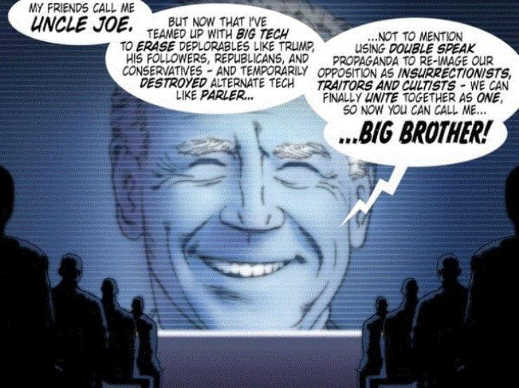 uncle joe 1984 big tech brother double speak screen
