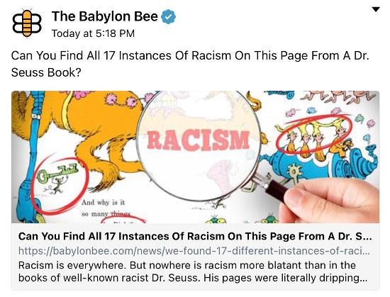 babylon bee find 17 examples racism dr seuss