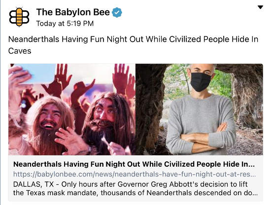 babylon bee neanderthals party texas while rest stay in caves