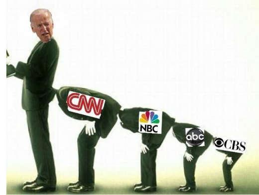 cnn nbc abc cbs media head up ass of joe biden