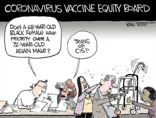 coronavirus vaccine equity board black female asian old guy