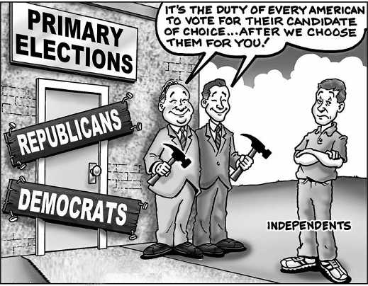 duty every american vote candidate of choice closed to independents