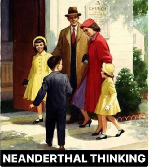 family no masks neanderthal thinking