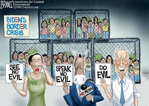 joe biden border crisis kids cages media aoc see speak no evil