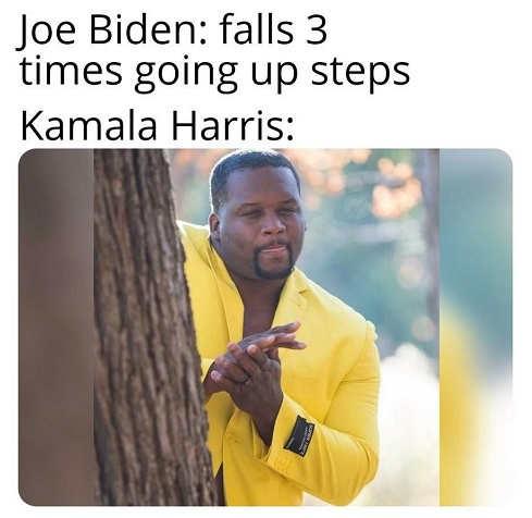 joe biden falls 3 times stairs kamala harris