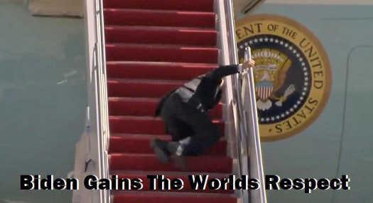 joe biden gains world respect fall down stairs air force one