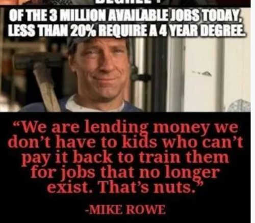 quote mike rowe lending money dont have train kids for jobs dont exist