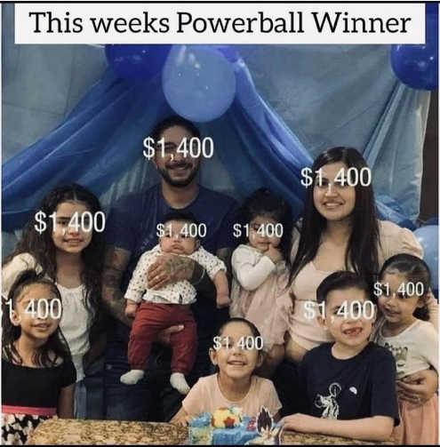 this weeks powerball winner family kids 1400 stimulus