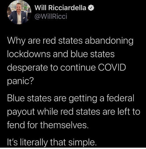 tweet will red state abandoning lockdowns blue states get federal bailout