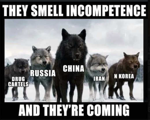 wolves cartels russia china iran north koreo smell biden incompetence