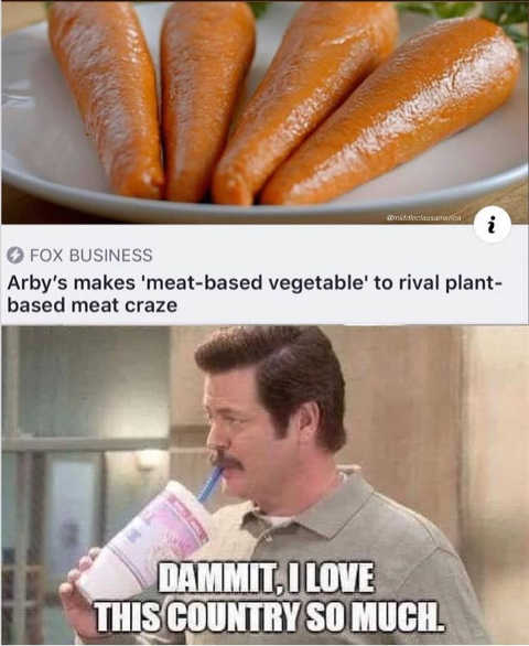 arbys meat based carrots rival rival plant based meats ron swanson