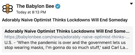 babylon bee adorably naive optimist lockdowns end someday