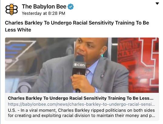 babylon bee charles barkley to undergo racial sensitivity be less white