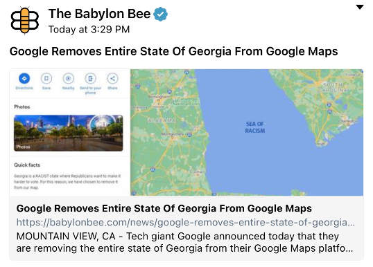 babylon bee google removes entire state of georgia from google maps