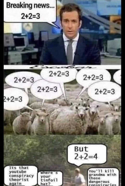 breaking news 2+2=3 media sheep conspiracy