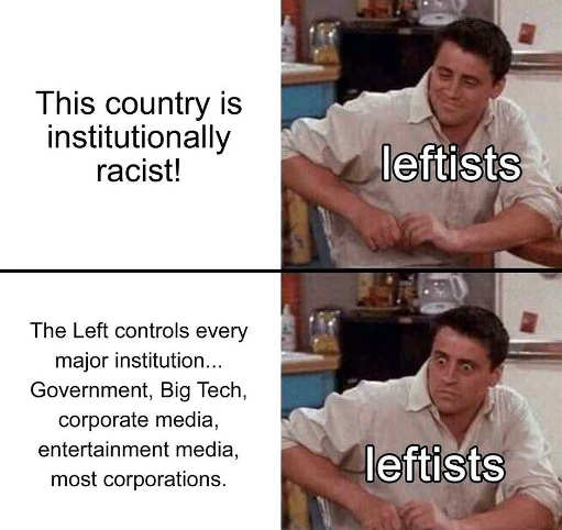 country is institutionally racist leftists control all big tech media corporations