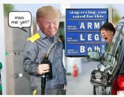 gas prices arm leg miss trump yet