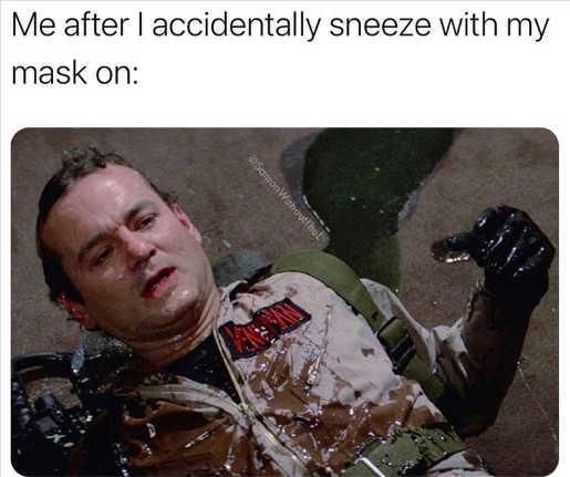 ghostbusters slimmed me sneeze with mask on