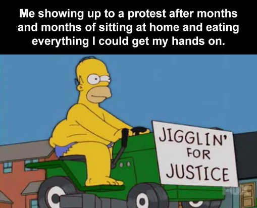 homer showing up at protest jiggling for justice