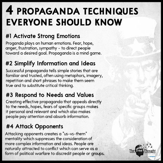 lesson 4 propaganda techniques emotions simplify needs values attack opponents