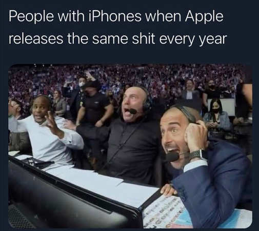 people iphones excited announcers same shit every year