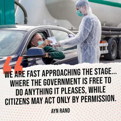 quote ayn rand fast approaching stage government do anything citizens ask permission