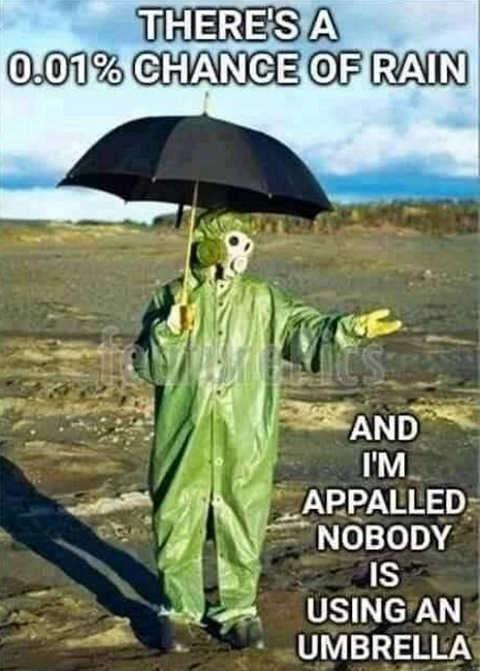001 chance of rain nobody using umbrella