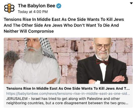 babylon bee arabs kill jews israeli no compromise