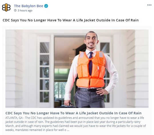babylon bee cdc life jacket not required in case of rain