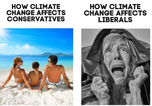 how climate change affects liberals vs conservatives