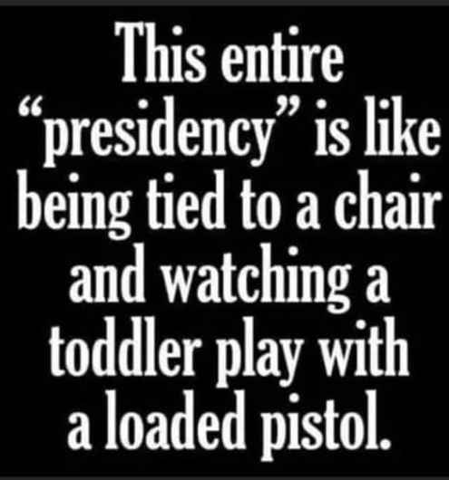 joe biden entire presidency lied chair watching toddler play pistol