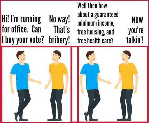 politician buy your vote guaranteed minimum income housing health care