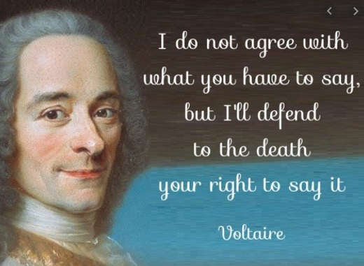quote voltaire dont agree with what you say defend death right to say it
